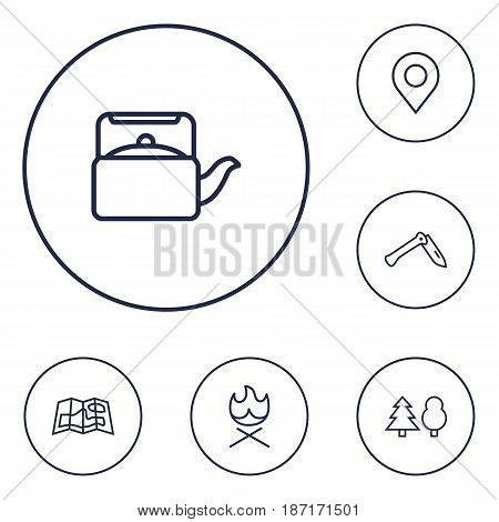 Set Of 6 Picnic Outline Icons Set.Collection Of Penknife, Forest, Gps And Other Elements.