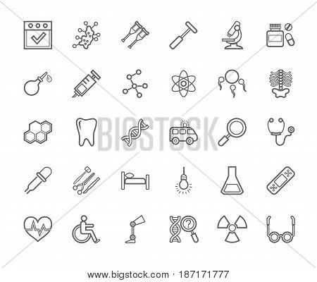Medicine, icons, monochrome, contour drawing, flat, vector. Medical services specialization. The profession of doctors. Medical instruments. Linear grey images on a white background.