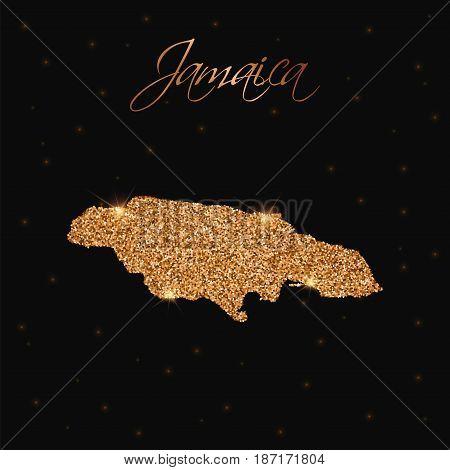 Jamaica Map Filled With Golden Glitter. Luxurious Design Element, Vector Illustration.