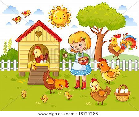 A Little Girl Feeds Chickens And Hens.