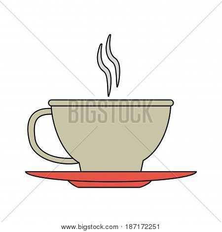 color image cartoon cup of coffee with steam on dish crockery vector illustration
