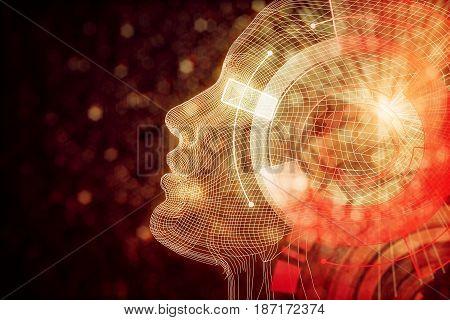 Robot With Digital Orange Brain