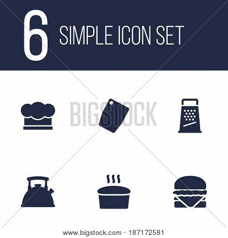 Set Of 6 Culinary Icons Set.Collection Of Kitchen Rasp, Chef Cap, Cutting Surface And Other Elements.