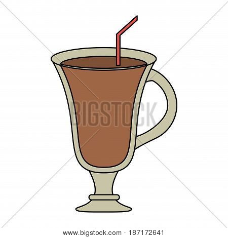 color image cartoon glass cup of cappucino with straw vector illustration