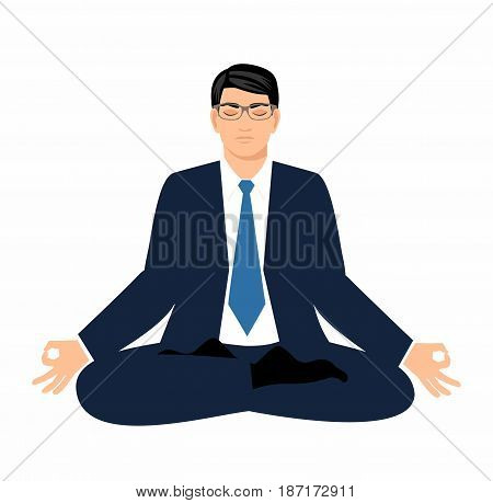 vector illustration businessman in a suit sits in a lotus position and meditate Isolated on white background