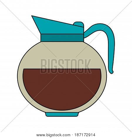 color image cartoon rounded glass jar of coffee with handle and coffee vector illustration