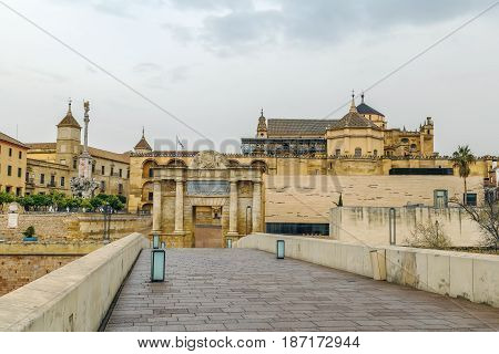 View of Mosque Cathedral of Cordoba from Roman Bridge Spain