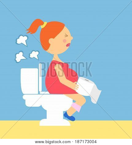 Cartoon illustration of a pregnant woman produces gases sitting on the toilet. series pregnancy