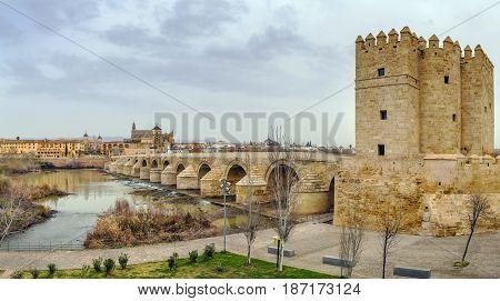 The Calahorra Tower (Spanish: Torre de la Calahorra) and Roman bridge Cordoba Spain
