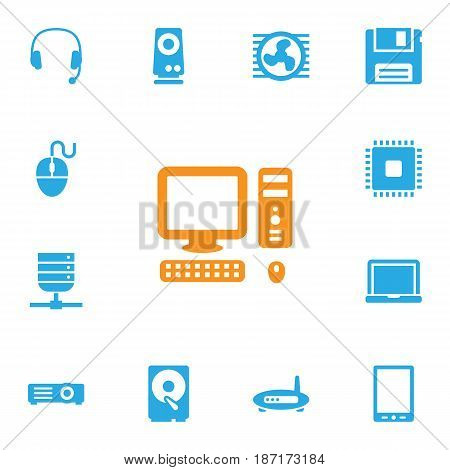 Set Of 13 Notebook Icons Set.Collection Of Amplifier, Laptop, Datacenter And Other Elements.