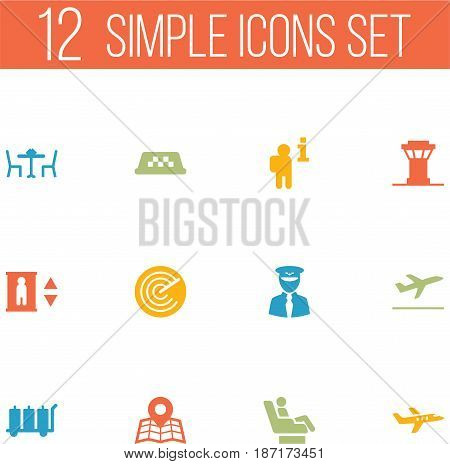 Set Of 12 Land Icons Set.Collection Of Carriage, Aircraft, Aviator And Other Elements.