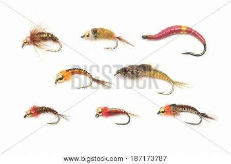 Fly fishing bait on a white background