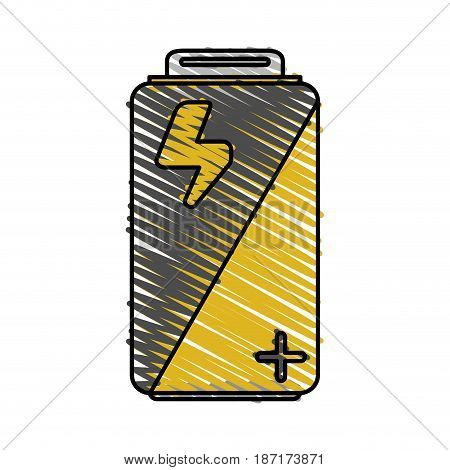color crayon stripe cartoon alkaline battery electricity charge vector illustration