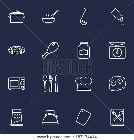 Set Of 16 Culinary Outline Icons Set.Collection Of Salt, Soup, Grater And Other Elements.