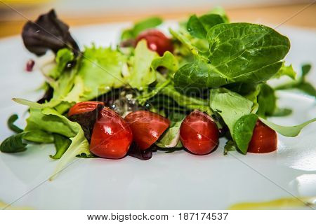 Salad with fresh vegetables on the plate.