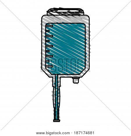 color crayon stripe cartoon medical serum bag vector illustration