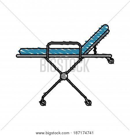color crayon stripe cartoon medical stretcher bed on wheels vector illustration
