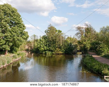 The Lake At Flatford Mill Outside In The Country In Essex On A Bright And Clear Sunny Day With No Pe