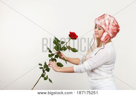 Woman In Winter Furry Hat Holding Red Rose