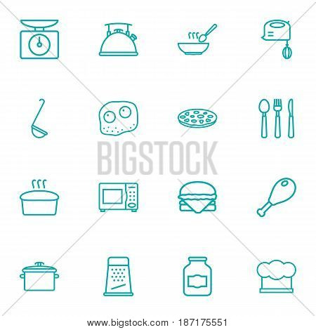 Set Of 16 Cooking Outline Icons Set.Collection Of Kettle, Grater, Mixer And Other Elements.
