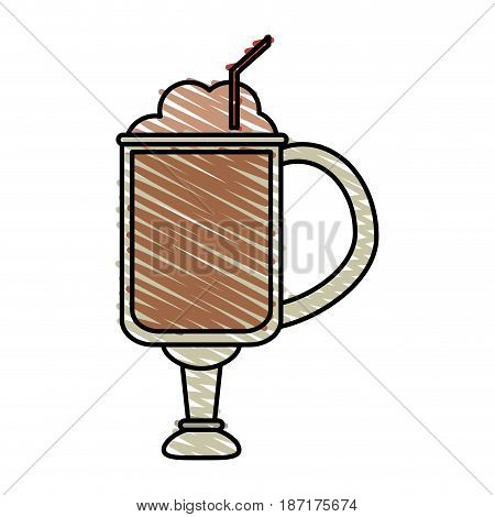 color crayon stripe cartoon glass cup of cappuccino with foam and straw vector illustration