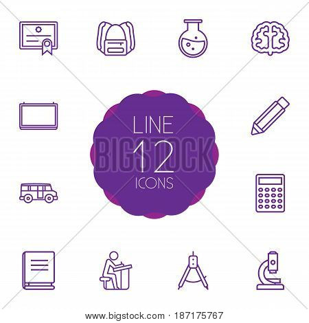 Set Of 12 Science Outline Icons Set.Collection Of Test Tube, Microscope, Compass And Other Elements.