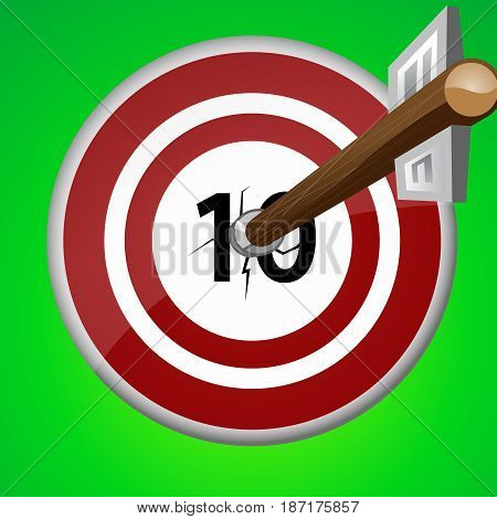 wooden arrow in red white target right in the top ten