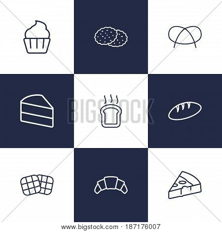 Set Of 9  Outline Icons Set.Collection Of Waffle, Pretzel, Cookie And Other Elements.