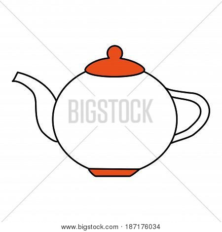 color silhouette image cartoon porcelain tea kettle for hot drinks vector illustration