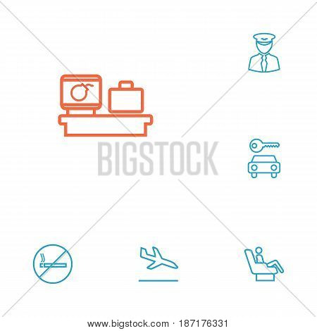 Set Of 6 Airplane Outline Icons Set.Collection Of Sit, Business Class, Luggage Check And Other Elements.