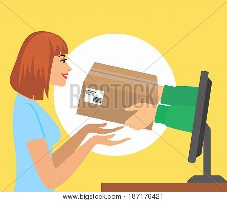 Beautiful woman pick up a present of  hands from computer monitor.  vector illustration concept for gift delivery service, e-commerce, online shopping, receiving package from courier to customer.