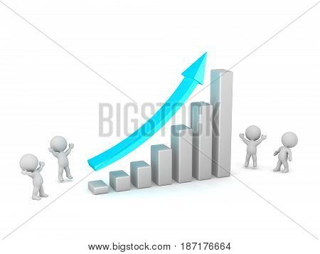 3D characters showing and cheering for a growth chart. Isolated on white background.