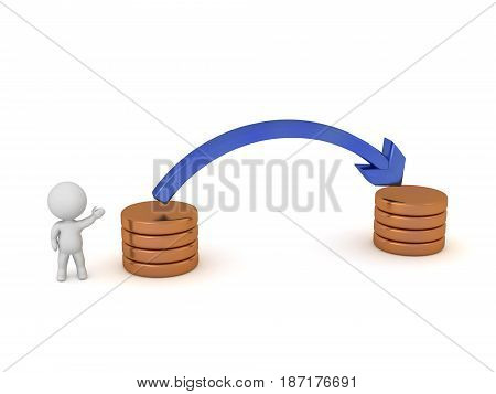 3D character and an illustration showing a transfer concept. Isolated on white background.