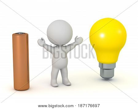 3D character with a battery and a large light bulb. Isolated on white background.