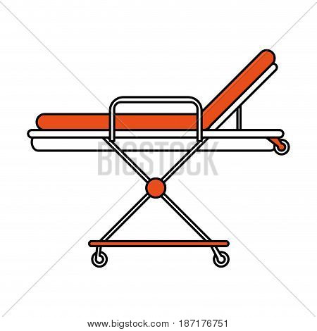color silhouette image cartoon medical stretcher bed on wheels vector illustration