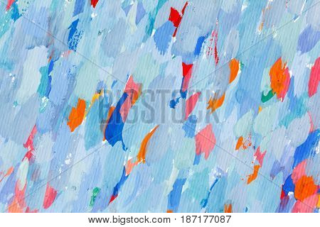 Abstract watercolor blue background of stains and brush strokes with paint