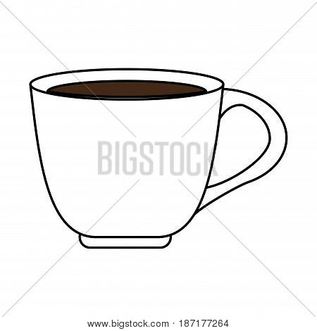 color silhouette image cartoon porcelain cup of coffee with handle vector illustration