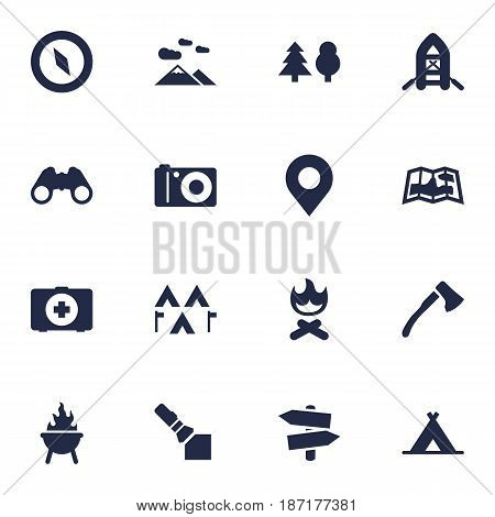 Set Of 16 Camping Icons Set.Collection Of Optical Zoom, Tent, Wood Axe And Other Elements.