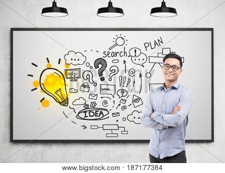 Asian Businessman Plan Sketch