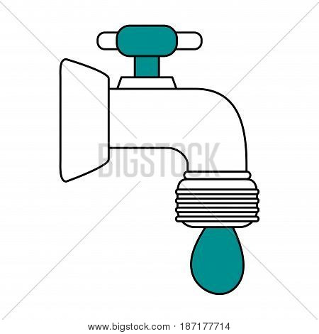 color silhouette image cartoon watertap with drop icon vector illustration