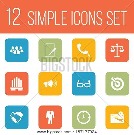Set Of 12 Enterprise Icons Set.Collection Of Building, Pen, Spectacles And Other Elements.