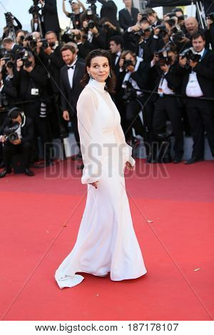 Juliette Binoche attends the 'Okja' screening during the 70th Cannes Film Festival at Palais des Festivals on May 19, 2017 in Cannes, France.