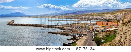 Embankment In Resort Rethymno, Crete, Greece