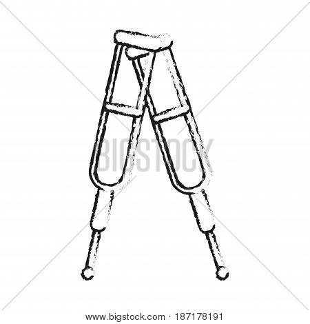 blurred silhouette image cartoon pair of medical crutches vector illustration