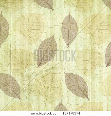 Antique Green Cracked Linen Background