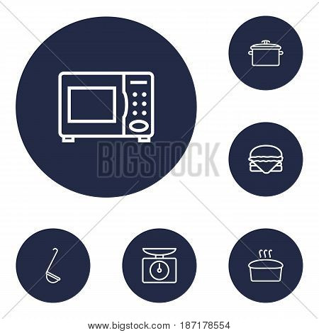Set Of 6 Cooking Outline Icons Set.Collection Of Hamburger, Ladle, Bread And Other Elements.