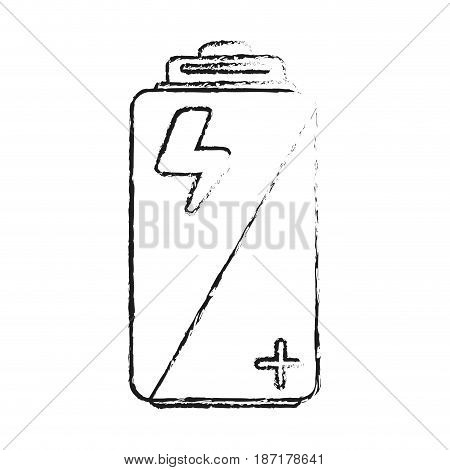 blurred silhouette image cartoon alkaline battery electricity charge vector illustration