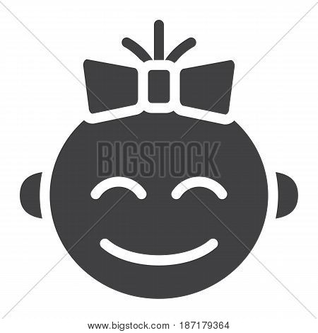 Baby girl solid icon, child and infant, vector graphics, a filled pattern on a white background, eps 10.