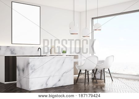 Side view of a marble kitchen interior with a small table two white chairs countertops and a framed vertical poster on a wall. 3d rendering mock up
