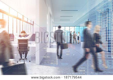 People In Office Corridor, Double